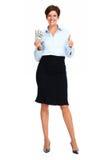Dojrzała kobieta z amerykańskim dolara pieniądze Zdjęcie Royalty Free
