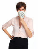 Dojrzała kobieta z amerykańskim dolara pieniądze Zdjęcia Royalty Free