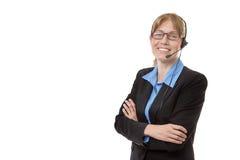 Dojrzała kobieta z słuchawki Obraz Royalty Free