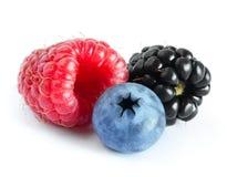 Dojrzała Słodka malinka, czarna jagoda i Blackberry na bielu, Fotografia Stock