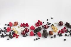 Dojrzałe jagody czarnych jagod, malinek, agrestów, czerwieni i koloru żółtego rodzynki, Fotografia Stock