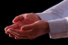 Dojrzałe męskie biznesmen ręki wraz z pustymi palmami up Zdjęcia Stock