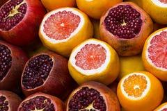 Dojrzałe pomarańcze i granaty Fotografia Stock