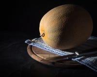 Dojrzały żółty melon na ciemnym tle sztuki pięknej kamery oczu mody pełne splendoru zieleni klucza wargi target1847_0_ depresję r Zdjęcie Stock