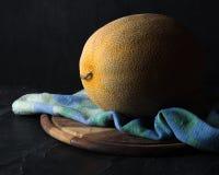 Dojrzały żółty melon na ciemnym tle sztuki pięknej kamery oczu mody pełne splendoru zieleni klucza wargi target1847_0_ depresję r Obrazy Royalty Free