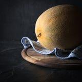 Dojrzały żółty melon na ciemnym tle sztuki pięknej kamery oczu mody pełne splendoru zieleni klucza wargi target1847_0_ depresję r Fotografia Royalty Free