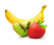Dojrzały banan, kiwi owoc i jagody truskawka, Fotografia Stock