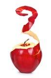 Dojrzały czerwony jabłko z obraną skórą zdjęcia royalty free