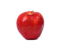 Dojrzały czerwony jabłko z wody kroplą Zdjęcia Royalty Free