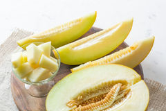 Dojrzały duży i żółty melon Ciie w kawałki Apetyczny tło zdrowa żywność obrazy stock
