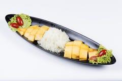 Dojrzały mango i kleiści ryż Obraz Stock