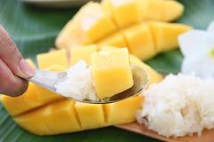 Dojrzały mango i kleiści ryż w łyżce. Obraz Royalty Free