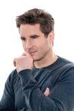 Dojrzały myślący zadumany mężczyzna portret Fotografia Stock