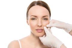 dojrzały ponad operacji plastycznej białą kobietą Atrakcyjna, śliczna kobieta, Obraz Royalty Free
