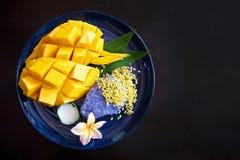 Dojrzały słodki mango z kleistymi ryż, Tajlandzki deser zdjęcia stock