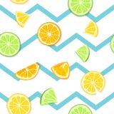 Dojrzały soczysty tropikalnej owoc pasiasty bezszwowy tło Wektor karciana ilustracja Świeżego cytrusa wapna cytryny pomarańczowa  Obrazy Stock