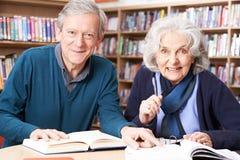 Dojrzały Studencki działanie Z nauczycielem W bibliotece zdjęcia royalty free