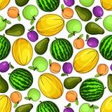 Dojrzałych owoc kolorowy bezszwowy wzór Zdjęcia Stock