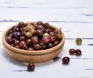 Dojrzałe czerwone jagody agresty w brown pucharze Zdjęcie Royalty Free