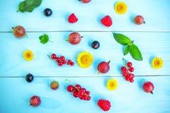 Dojrzałe lato jagody, kwiaty i Obraz Royalty Free