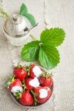 Dojrzałe truskawki na talerzu Zdjęcie Stock