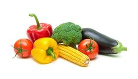 Dojrzali świezi warzywa odizolowywający na białym tła zakończeniu Zdjęcie Stock