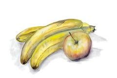 Dojrzali żółci banany i jabłko ilustracja wektor