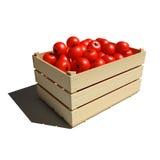 Dojrzali czerwoni pomidory w drewnianym pudełku Fotografia Stock