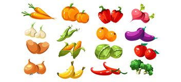 Dojrzali glansowani coloful warzywa i owoc, gemowy interfejsu użytkownika element dla wideo gra komputerowa wektoru ilustraci Royalty Ilustracja