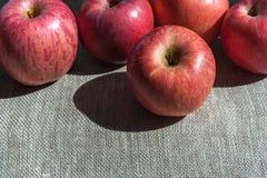 Dojrzali jabłka na brezentowym tle Fotografia Royalty Free