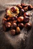 Dojrzali kasztany na starym drewnianym stołu i worka pieluchy zakończeniu up z Fotografia Stock