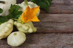 Dojrzali pattypan kabaczka warzywa z kolorów żółtych liśćmi i kwiatami Zdjęcie Royalty Free