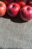 Dojrzali różowi jabłka na brezentowym tle, odgórny widok Zdjęcia Stock