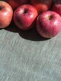 Dojrzali różowi jabłka na brezentowym tle, odgórny widok Obraz Royalty Free