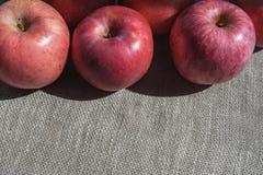 Dojrzali różowi jabłka na brezentowym tle, odgórny widok Zdjęcia Royalty Free