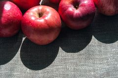 Dojrzali różowi jabłka na brezentowym tle, odgórny widok Obrazy Royalty Free