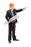 Dojrzały architekt trzyma wskazywać i projekt Fotografia Stock