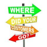 Dokąd Zrobił Twój klienci Iść znaki - znalezienie Gubjąca baza konsumencka Zdjęcia Royalty Free