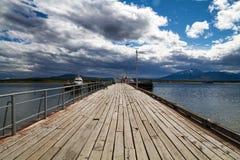 Dok bij patagonian kust Stock Foto's