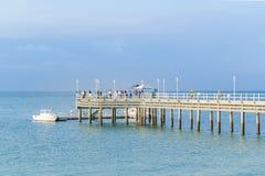 Dok bij Vreedzame Oceaan, Zoutmeren, Ecuador royalty-vrije stock foto