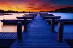 Dok bij zonsondergang royalty-vrije stock afbeelding