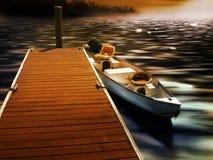 Dok en boot Stock Afbeeldingen