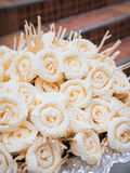 Dok Mai Chan. Thai artificial flowers used during a funeral. Kind of wood flower to be placed on the site of cremation stock photography