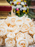 Dok Mai Chan. Thai artificial flowers used during a funeral. Kind of wood flower to be placed on the site of cremation royalty free stock image