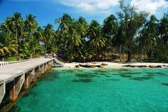 Dok met kokosnoot en strand royalty-vrije stock foto's