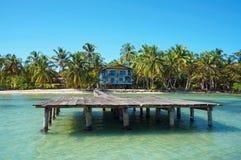 Dok met strandhuis en kokospalmen stock afbeeldingen