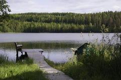 Dok na brzeg jeziora Zdjęcie Royalty Free