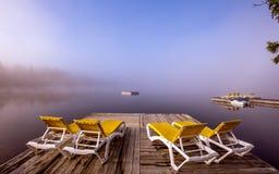 Dok na lac, Mont-tremblant, Quebec, Kanada obraz stock
