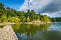 Doki w Jeziornym Wylie przy McDowell natury prezerwą w Charlotte, Zdjęcia Stock