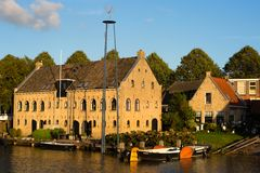 Traditional warehouse in Dokkum stock image